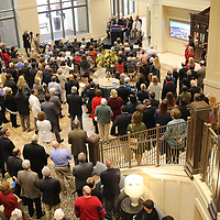Hundreds fill the entry of the new Baptist hospital in Oxford for a small welcome ceremony and first look of the new hospital on Wednesday morning. The official opening is Saturday November 25. Tours and refreshment were offered to those in attendance.