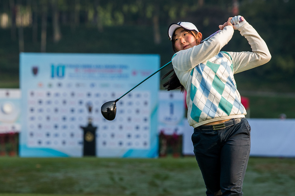 Yumi Kudo of Japan in action during day one of the 10th Faldo Series Asia Grand Final at Faldo course in Shenzhen, China. Photo by Xaume Olleros.