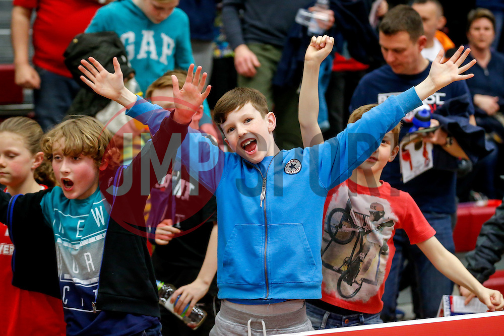 Bristol Flyers fans celebrate their sides victory in the match - Mandatory byline: Rogan Thomson/JMP - 18/03/2016 - BASKETBALL - SGS Wise Arena - Bristol, England - Bristol Flyers v Cheshire Pheonix - BBL Championship.