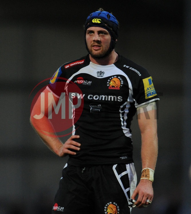 Exeter Chiefs Dean Mumm - Photo mandatory by-line: Harry Trump/JMP - Mobile: 07966 386802 - 14/02/15 - SPORT - Rugby - Aviva Premiership - Sandy Park, Exeter, England - Exeter Chiefs v Newcastle Falcons