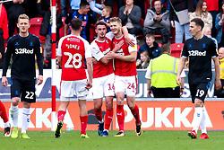 Darren Potter helps Michael Smith of Rotherham United celebrate his goal - Mandatory by-line: Ryan Crockett/JMP - 05/05/2019 - FOOTBALL - Aesseal New York Stadium - Rotherham, England - Rotherham United v Middlesbrough - Sky Bet Championship