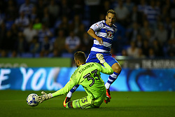 Bartosz Bialkowski of Ipswich Town blocks a shot from Roy Beerens of Reading - Mandatory by-line: Jason Brown/JMP - 09/09/2016 - FOOTBALL - Madejski Stadium - Reading, England - Reading v Ipswich Town - Sky Bet Championship