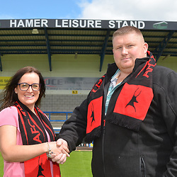 AFC Telford United sponsorship deal<br /> <br /> AFC Telford commercial manager Aimee Lauder with John Hamer, Hamer Leisure, after the club agreed a stand sponsorship deal at the New Bucks Head Stadium, Telford on Thursday, June 20, 2019.<br /> <br /> Free for editorial use only<br /> Picture credit: Mike Sheridan/Ultrapress<br /> <br /> MS201819-002