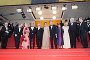 Thierry Fremaux, Jury members Arnaud Desplechin, Kirsten Dunst, Mads Mikkelsen, Georges Mille, Valeria Golino, Laszlo Nemes, Katayoon Shahabi, Vanessa Paradis, Donald Sutherland and President of the festival Pierre Lescure  - 69TH CANNES FILM FESTIVAL 2016 - OPENING OF THE FESTIVAL WITH ' CAFE SOCIETY '<br /> ©Exclusivepix Media