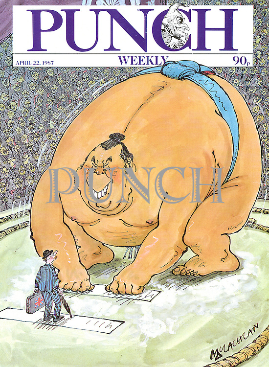 Punch. (British businessman faces giant Sumo wrestler. Front cover 22 April 1987)