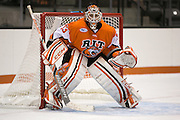 RIT's Ken MacLean took over in goal during a game against Brock University at the Gene Polisseni Center on Saturday, October 4, 2014.