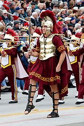 Mascot of the University of Southern California (USC) Trojans marching on the route of the 2017 Tournament of Roses Parade, Rose Parade, Pasadena, California, United States of America