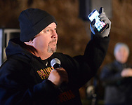Palisades football coach Kevin Ronalds makes remarks before the lighting of the bonfire during a pep rally to cheer on the Palisades High School football team Thursday, November 16, 2017 at Palisades Middle School in Kintnersville. Palisades, 11-0 this season, will be playing Lehighton on Saturday for the PIAA District 11 Class 3A title at Bethlehem School District Stadium. (Photo by William Thomas Cain)