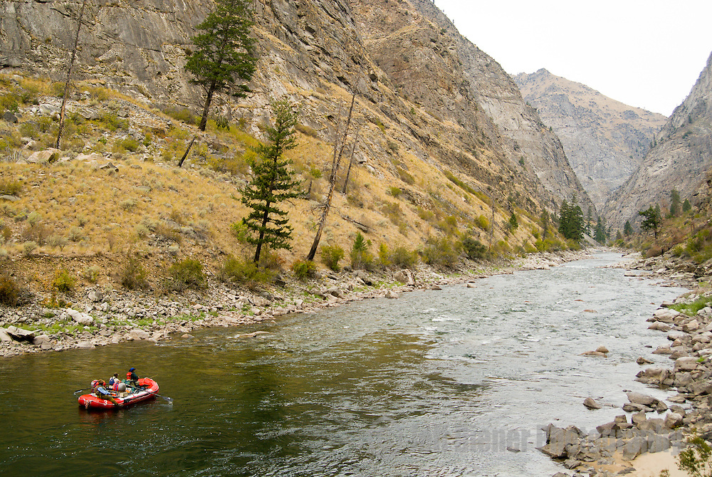 A group of rafters float the Impassable Canyon.  Middle Fork of the Salmon River.  Frank Church-River Of No Return Wilderness, Idaho.