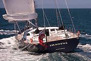 Emirates Team New Zealand testing the  AC72 on the Hauraki Gulf with Imagine II. 31/10/2012