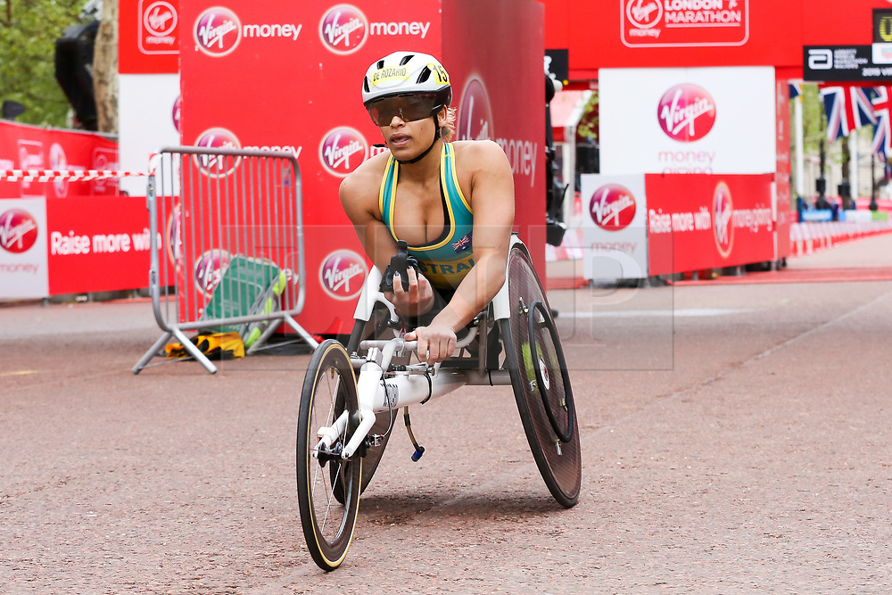 © Licensed to London News Pictures. 28/04/2019. London, UK. Madison De Rozario finished third at the women's wheelchair race at the 2019 Virgin Money London Marathon. Photo credit: Dinendra Haria/LNP