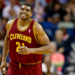 Nov 22, 2013; New Orleans, LA, USA; Cleveland Cavaliers center Andrew Bynum (21) against the New Orleans Pelicans during the second quarter of a game at New Orleans Arena. Mandatory Credit: Derick E. Hingle-USA TODAY Sports