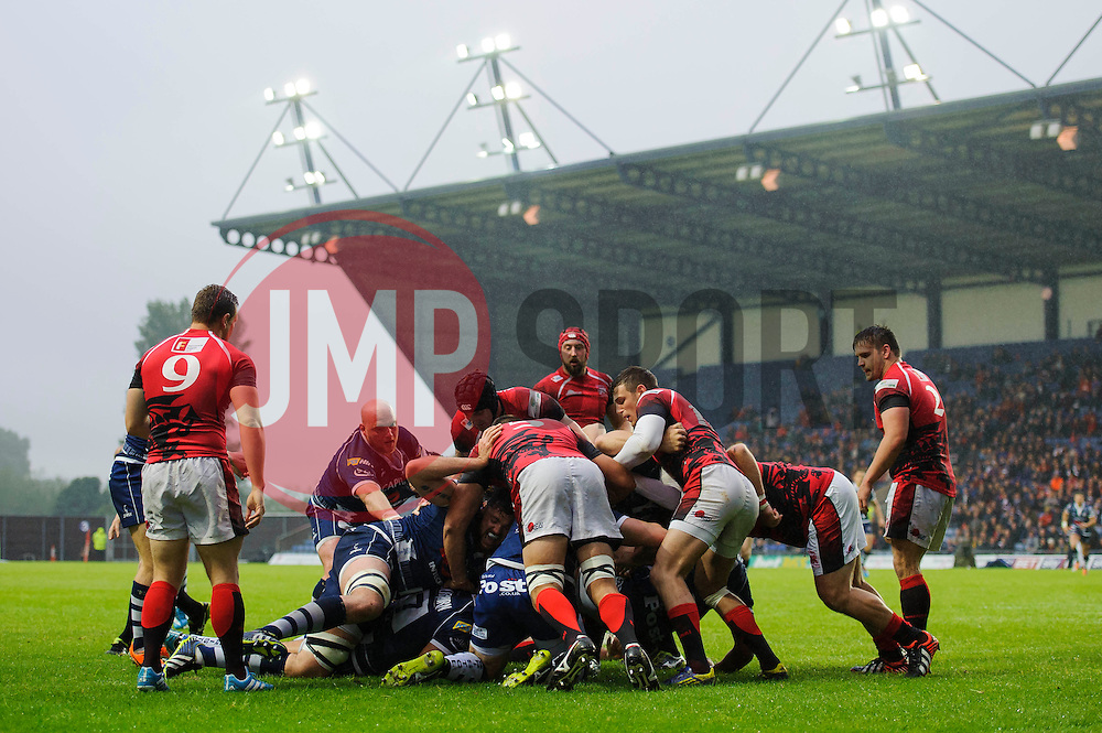 Bristol Flanker Marco Mama is driven over the line to score an early try to give his side a 0-5 lead - Photo mandatory by-line: Rogan Thomson/JMP - 07966 386802 - 28/05/2014 - SPORT - RUGBY UNION - Kassam Stadium, Oxford - London Welsh v Bristol Rugby - Greene King IPA Championship Play Off Final First Leg.