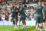 Leeds United midfielder Kalvin Phillips (23) and Leeds United forward Helder Costa (17) warming up during the EFL Cup match between Leeds United and Stoke City at Elland Road, Leeds, England on 27 August 2019.