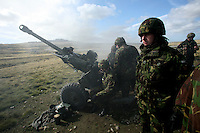 British soldiers fire live artillery during training at the Mount Pleasant Complex, a joint army and air force base in the Falkland Islands on Thursday, March 22, 2007. After the 1982 invasion of the islands by Argentinean forces, the United Kingdom has a strong military presence to protect the island from any possible future aggressions. (Photo/Scott Dalton)