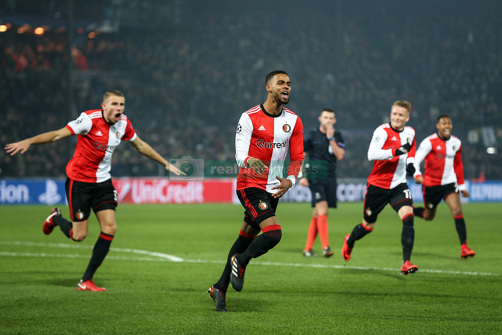 (l-r) Sven van Beek of Feyenoord, Jeremiah St. Juste of Feyenoord during the UEFA Champions League group F match between Feyenoord Rotterdam and SSC Napoli at the Kuip on December 06, 2017 in Rotterdam, The Netherlands