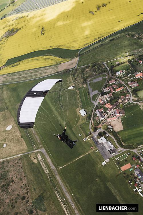 Wuzi Wagner flies his canopy over Skydive Pink Klatovy