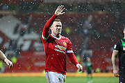 Wayne Rooney of Manchester United waves to his family after the Barclays Premier League match between Manchester United and Stoke City at Old Trafford, Manchester, England on 2 February 2016. Photo by Phil Duncan.