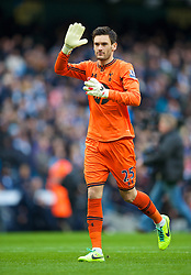 MANCHESTER, ENGLAND - Sunday, November 24, 2013: Tottenham Hotspur's goalkeeper Hugo Lloris waves to the fans seconds before making a mistake to gift Manchester City the opening goal during the Premiership match at the City of Manchester Stadium. (Pic by David Rawcliffe/Propaganda)