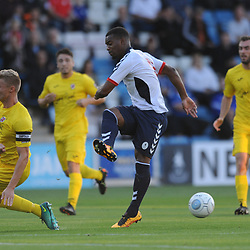 TELFORD COPYRIGHT MIKE SHERIDAN 14/8/2018 - Andre Brown of AFC Telford has a shot charged down by Gareth Dean during the Vanarama Conference North fixture between AFC Telford United and Brackley Town.