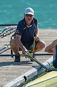 Aiguebelette, FRANCE, Australian Coach,  Lyall MCCARTHY, Athlete Kim CROW, 2015 FISA World Rowing Championships, <br /> Venue, Lake Aiguebelette - Savoie. <br /> Saturday  29/08/2015  [Mandatory Credit. Peter SPURRIER/Intersport Images].