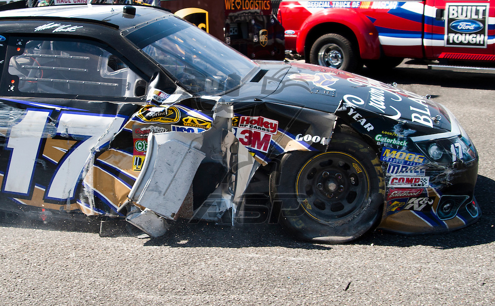 TALLADEGA, AL - APR 17, 2011: Matt Kenseth gets a lot of damage during the Matt Kenseth (17) at the Talladega Superspeedway in Talladega, AL.