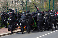 Plauen, Germany -  01.05.2016 <br /> <br /> Neo-Nazis try to break the police lines. Hundreds of neo-Nazis participated in a march of the radical right-wing party &acute;Der III. Weg&acute; on the first of May in the Saxon small town Plauen. Because of disputes over the protest route the organizers end their march after a part of the route. Immediately afterwards neo-Nazis try to break through police lines and attack police forces. The police reacts with water cannons, tear gas, pepper spray and batons. After the situation calmed down the police a accepted a following demonstration application back to the starting point.<br /> <br /> Neonazis versuchen ein Polizeikette zu durchbrechen. Hunderte Neonazi beteiligten sich an einem Aufmarsch der rechtsradikalen Partei III.Weg am 01. Mai im saechsischen Plauen. Wegen Streitigkeiten ueber die Aufzugsroute beendeten die Veranstalter die Demonstration nach einem Teil der Wegstrecke. Unmittelbar darauf versuchten die Rechtsradikalen Polizeikraefte an versuchten Polizeiketten zu durchbrechen. Die Polizei setzte daraufhin Wasserwerfer, Traenengas, Pfefferspray und Schlagstoecke ein. Nachdem sich die Situation beruhigt hatte lie&szlig; die Polizei einer erneute Demonstrationsanmeldung zu - die zurueck zum Startpunkt fuehrte.