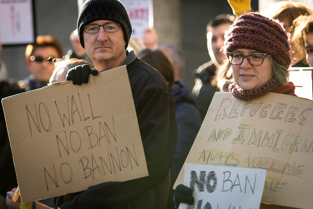 TOKYO, JAPAN - JANUARY 31 : Residents of Tokyo gather to protest against U.S President Donald Trump's immigration ban and security agendas near US embassy of Tokyo, Japan on January 31, 2017. U.S. President Trump issued a executive order banning seven Muslim nations, Iraq, Syria, Iran, Sudan, Libya, Somalia or Yemen from entering the United States. Several travelers with visas to the United States were detained at JFK airport the past few days. (Photo by Richard Atrero de Guzman/NUR Photo)