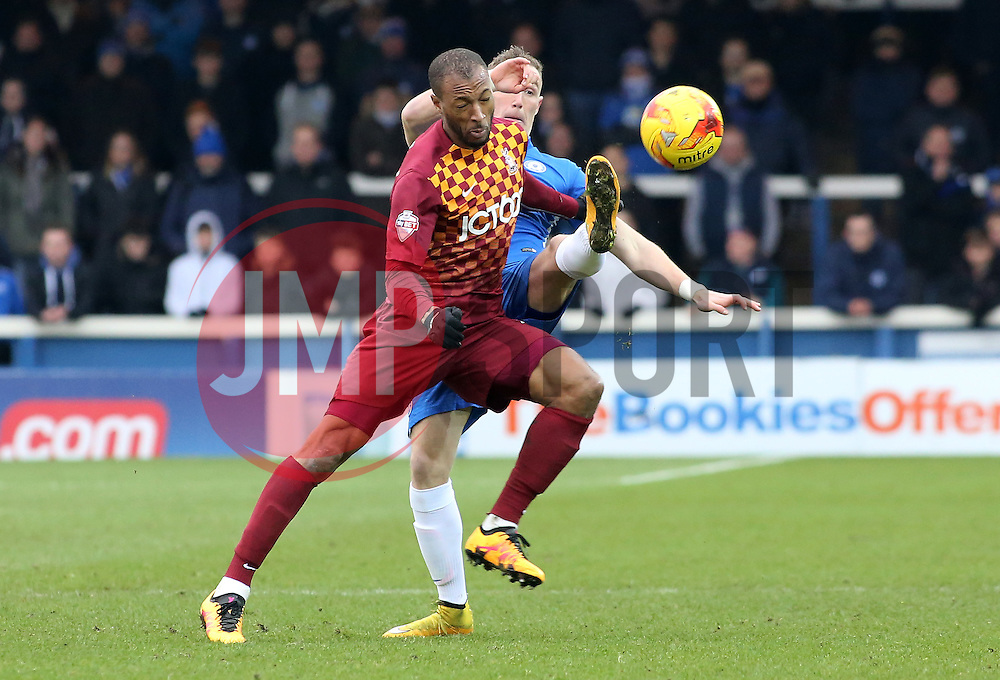 Marcus Maddison of Peterborough United battles with Bradford City's Wes Thomas - Mandatory byline: Joe Dent/JMP - 13/02/2016 - FOOTBALL - ABAX Stadium - Peterborough, England - Peterborough United v Bradford City - Sky Bet Championship