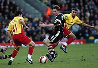 Photo: Tony Oudot.<br />Watford v Charlton Athletic. The Barclays Premiership. 03/03/2007.<br />Matt Holland of Charlton watches Johan Cavalli of Watford