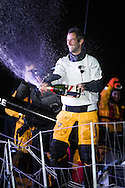 The Vendee Globe Race Finish. Les Sables d Olonne. France. On Friday the 20th January 2017.<br /> Armel Le Cl&eacute;ac&rsquo;h winner of the Vendee Globe onboard his &lsquo;Banque Popular&rdquo;  IMOCA Open60. He finished 1st in the Vendee Globe solo non stop around the world yacht race. Shown here in the Sables d Olonne port celebrating. He completed the solo non stop around the world race in a record 74days. 3hours and 35 minutes on Friday the19th January 2017.<br /> <br /> Photo by Lloyd Images/Getty Images