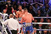 Tony Bellew throws a punch at David Haye and has him on the ropes at the O2 Arena, London, United Kingdom on 5 May 2018. Picture by Phil Duncan.