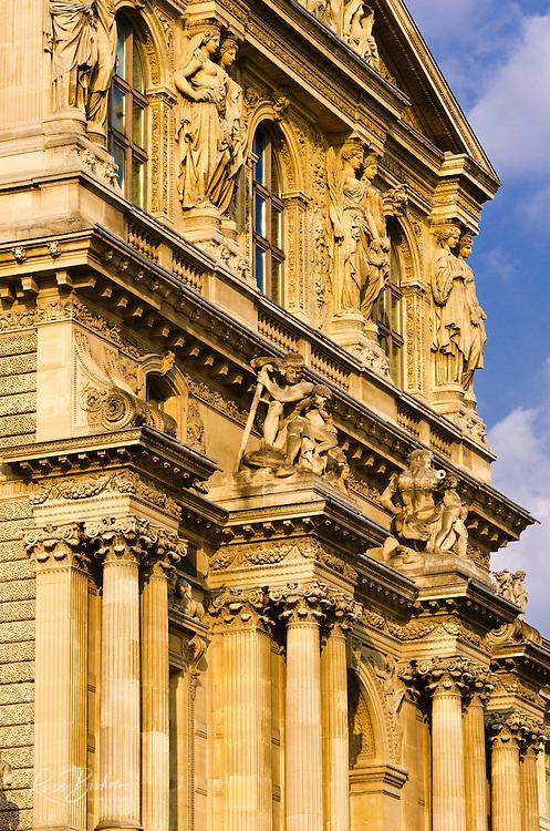 Column detail at the Louvre Palace, Louvre Museum, Paris, France