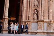 King Juan Carlos of Spain, Queen Sofia of Spain, Princess Sofia, Crown Princess Leonor, Queen Letizia of Spain, King Felipe VI of Spain leave the Cathedral of Palma de Mallorca after Easter Mass on April 1, 2018 in Palma de Mallorca, Spain