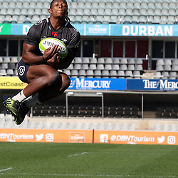 S'busiso Nkosi during The Cell C Sharks Captain's Run at Growthpoint Kings Park in Durban, South Africa 28th July 2017 (Photo by Steve Haag)<br /> <br /> images for social media must have consent from Steve Haag