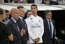 August 27, 2017 - Madrid, Spain - Cristiano Ronaldo before the game starts. LaLiga Santander matchday 2 between Real Madrid and Valencia. The final score was 2-2, Marco Asensio scored twice for Real Madrid. Carlos Soler and Kondogbia did it for Valencia. Santiago Bernabeu Stadium, august 27, 2017. Photo by  (Credit Image: © |Antonio Pozo |  Media Expre/VW Pics via ZUMA Wire)