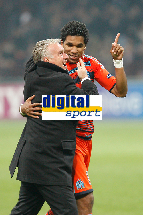 FOOTBALL - UEFA CHAMPIONS LEAGUE 2011/2012 - 1/8 FINAL - 2ND LEG - INTER MILAN v OLYMPIQUE MARSEILLE - 13/03/2012 - PHOTO PHILIPPE LAURENSON / DPPI - DIDIER DESCHAMPS (OM COACH) AND BRANDAO (OM)  AFTER MATCH