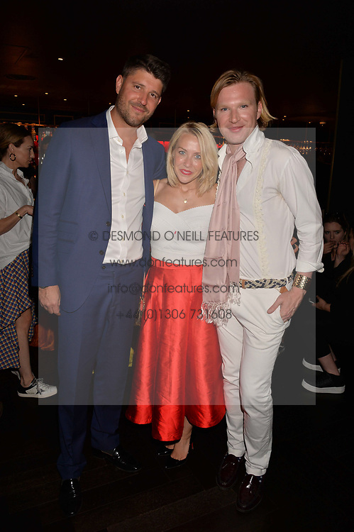 Alex Goward, Laura Hamilton, Henry Conway at the Quaglino's Q Legends Summer Launch Party hosted by Henry Conway at Quaglino's, 16 Bury Street, London England. 18 July 2017.<br /> Photo by Dominic O'Neill/SilverHub 0203 174 1069 sales@silverhubmedia.com