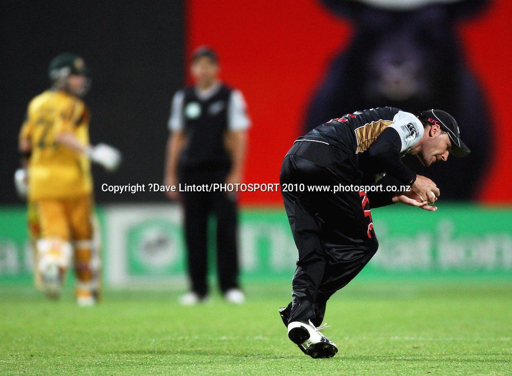 NZ's Brendan McCullum fields.<br /> 1st Twenty20 cricket match - New Zealand v Australia at Westpac Stadium, Wellington. Friday, 26 February 2010. Photo: Dave Lintott/PHOTOSPORT