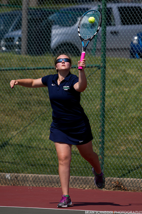 September 22, 2012; Baltimore, MD, USA; Notre Dame Gators tennis team competes against Cairn University on campus in Baltimore, MD. Mandatory Credit: Brian Schneider-www.ebrianschneider.com