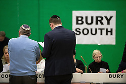 © Licensed to London News Pictures . 12/12/2019. Bury, UK. The count for seats in the constituency of Bury South , incumbent Ivan Lewis,  in the 2019 UK General Election , at Castle Leisure Centre in Bury . Photo credit: Joel Goodman/LNP