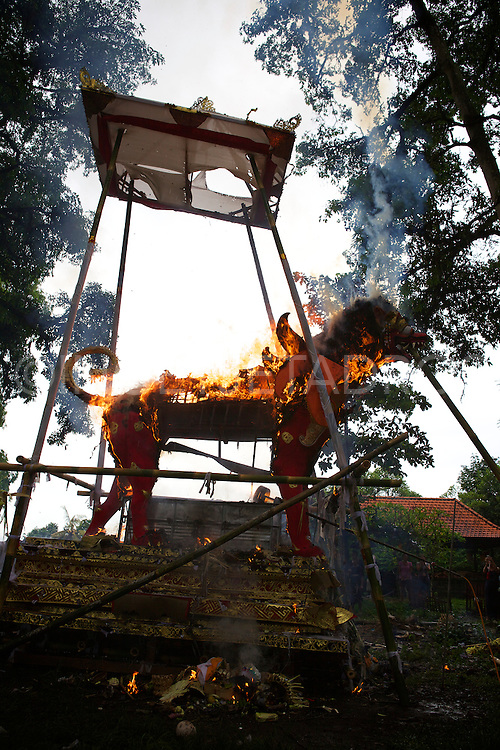 A cremation tower is burning down during a cremation ceremony in a forest in Ubud.<br /> When a Balinese dies, it is believed that he must undergo certain rituals in order for his spirit to be released.<br /> The most important of the rituals is that of cremation, but it is so costly that many people either delay the ceremonies or go into massive debt to perform the rituals associated with the cremation.<br /> Before cremation, the body must be prepared for burial.<br /> The corpse is than buried for a certain period of time but no longer than 3 years.<br /> On the appointed time of the cremation, the family (or if several families cannot afford the cremation ceremony and rituals, a group cremation will occur and a cremation tower will be build and elaborate offerings will be prepared.<br /> Ubud, Bali 2013<br /> &copy;Ingetje Tadros <br /> <br /> Exclusive at Getty Images http://www.gettyimages.com.au/Search/Search.aspx?contractUrl=2&amp;language=en-US&amp;assetType=image&amp;p=ingetje+tadros