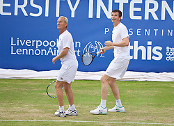 LIVERPOOL, ENGLAND - Sunday, June 21, 2015: Peter McNamara (AUS) and Richard Krajicek (NED) during Day 4 of the Liverpool Hope University International Tennis Tournament at Liverpool Cricket Club. (Pic by David Rawcliffe/Propaganda)