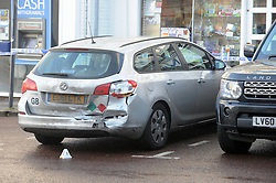 © Licensed to London News Pictures. 24/12/2015<br /> This silver car was hit by the AUDI that crashed into Costa.<br /> Costa Coffee car crash Westerham in Kent. Six people taken to hospital.<br /> (Byline:Grant Falvey/LNP)