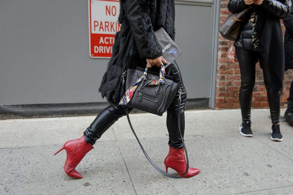 Celine Bag and Red Boots, Outside Zadig & Voltaire FW2018