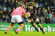Ben Toolis faces off against Paul Alo-Emile during the European Rugby Challenge Cup match between Edinburgh Rugby and Stade Francais at Murrayfield Stadium, Edinburgh, Scotland on 12 January 2018. Photo by Kevin Murray.