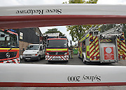 © licensed to London News Pictures. MARLOW, UK.  03/08/11. An undamaged boat bearing Steve Redgrave's name can be seen in front of the damaged building. Marlow Rowing Club has been badly damaged by fire today (03 August 2011). Boats with an estimated value of 100,000 pounds have been damaged. Steve Redgrave, Olympic Rower, who trained at the club and is from Marlow said his daughters boat is believed to be inside.  Mandatory Credit Stephen Simpson/LNP