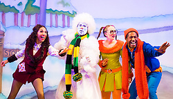 Hackney Empire Theatre, London, November 25th 2015.  Hackney Empire presents Jack and the Beanstalk as their 2015 Christmas pantomime. London's most famous panto will star Hackney Empire's own Olivier nominated dame Clive Rowe as Dame Daisy Trott, Olivier Award-nominated Bodyguard actress Debbie Kurup as Jack and Hackney Panto favourite Kat B as Snowman. Written and directed by Creative Director Susie McKenna, with music by Steven Edis. PICTURED: L-R Debbie Kuruo - Jack, Kat B - Snowman, Georgia Oldman - Off Her Trolley Molly, Darren Hart - Clumsy Colin.
