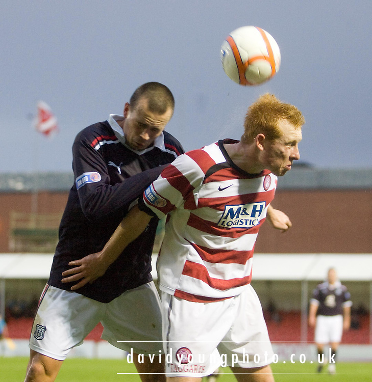 Dundee's Steven Milne and Hamilton Academical's Ziggy Gordon - Hamilton Academical v Dundee - IRN BRU Scottish Football League First Division - at New Douglas Park. .- © David Young -.5 Foundry Place - .Monifieth - .Angus - .DD5 4BB - .Tel: 07765 252616 - .email: davidyoungphoto@gmail.com - .http://www.davidyoungphoto.co.uk