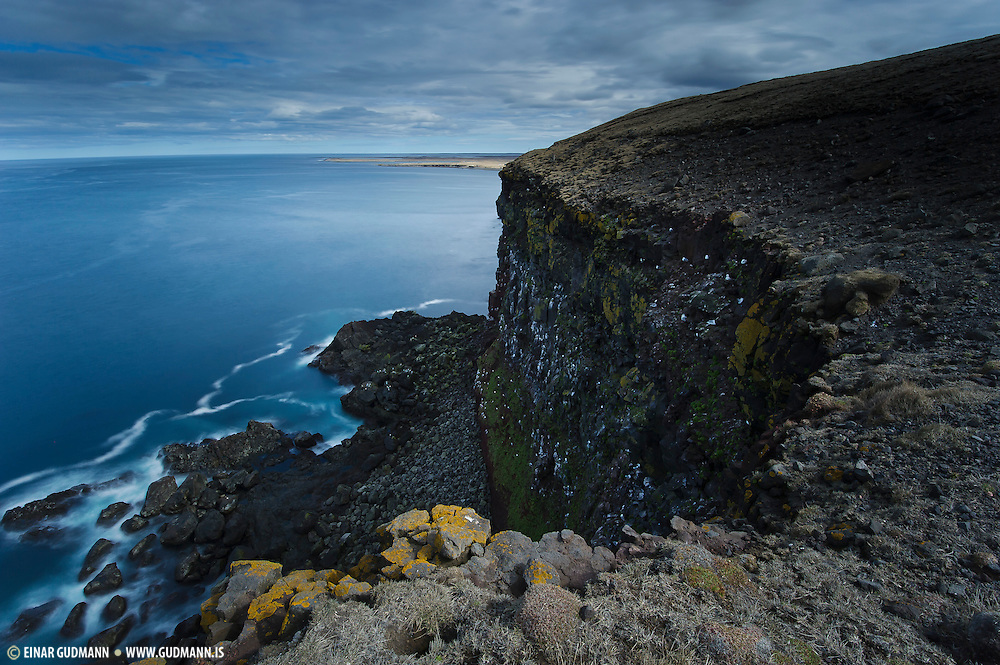 Rauðinúpur in North-east-Iceland. Gannets live in the two rocks in the sea.